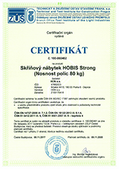 Shelves Bearing Capacity Certificate