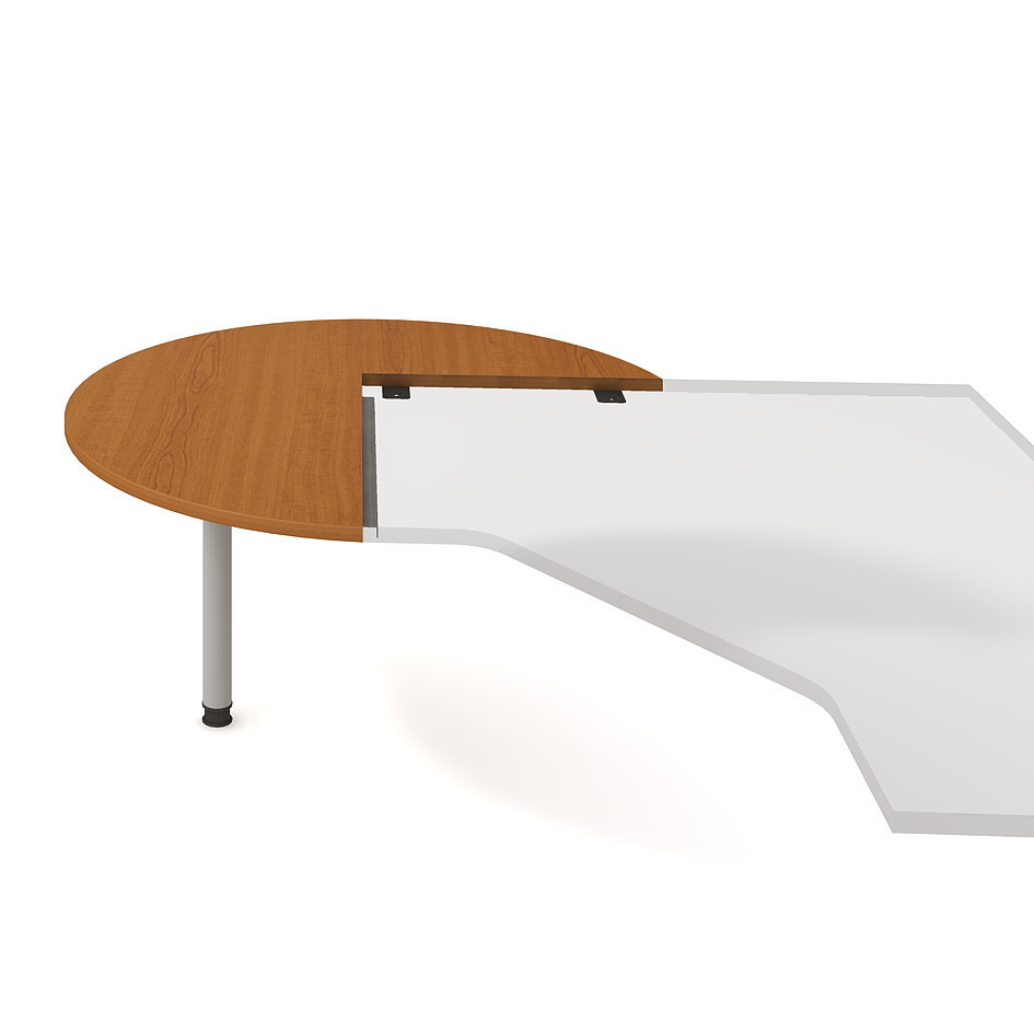 Meeting desk, left, cross woodgr., ø 120 cm - CP 22 L N